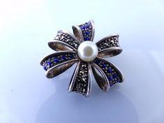 SOLD...Vtg. Sterling silver marcasite blue rhinestones bow vintage brooch pin 925