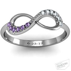 Infinity Accent Ring with His and Hers birthstone engraved with the weding date.