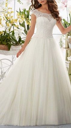 Simple Long A-Line Cap Sleeve Lace Wedding Dress