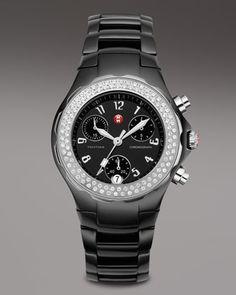 0517bfa74fd Tahitian Watch by Michele Watches Black Enamel