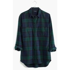 MADEWELL Flannel Oversized Boyshirt in Dark Plaid (£55) ❤ liked on Polyvore featuring tops, black watch, black top, button up shirts, oversized button up shirt, plaid button down shirt and oversized plaid shirt