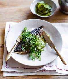 Australian Gourmet Traveller recipe for Mackerel with pickled cucumber, horseradish and herbs by Brett Graham, The Ledbury Cook Skins, Char Grill, Pickling Cucumbers, Recipe Search, Special Recipes, Seaweed Salad, Food Styling, Risotto, Seafood