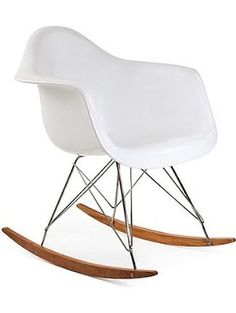 Ariel- Eames Style RAR Plastic Rocking Chair with Wood Eiffel Legs in White ❤ ARIEL