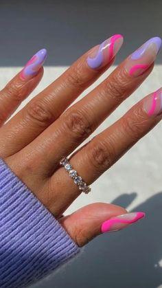 Purple Acrylic Nails, Remove Acrylic Nails, Acrylic Nails Coffin Short, Almond Acrylic Nails, Best Acrylic Nails, Purple And Pink Nails, Pink Chrome Nails, Light Purple Nails, Magenta Nails