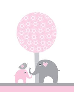 Pink and gray nursery wall art for girls, elephant, kids wall art,  art for children, art decor for babys room, bird tree nursery decor