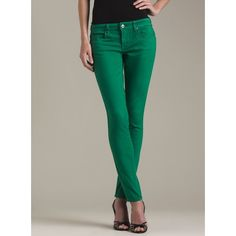 Blank Jeans Color Denim Skinny Kelly Green ($55) ❤ liked on Polyvore