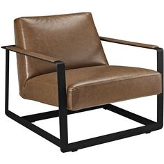 Modway Furniture Modern Seg Bonded Leather Accent Chair in Brown