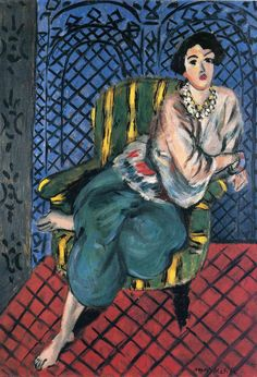 Woman sitting in a chair by @matisseart #expressionism