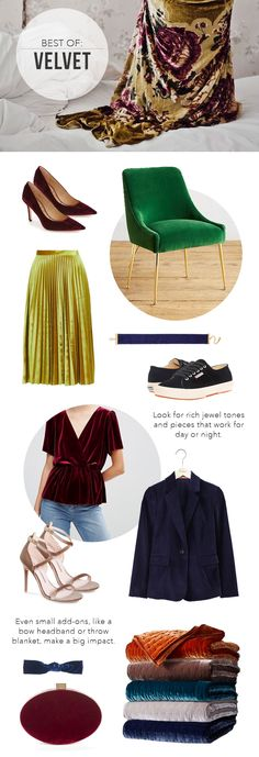 The Steele Maiden: Trend for Holiday - Velvet clothing, shoes and home decor