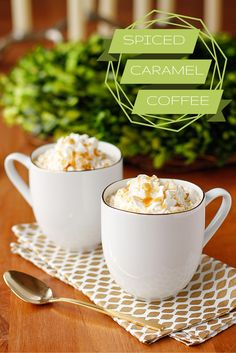 Caramel Coffee Recipe -- this easy holiday spiced caramel coffee will have your guests saying ooh and ahh, so simple and delicious!