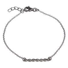 Fedt MINI armbånd i sort 925 sterling sølv med hvid topas