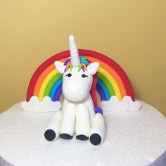 Fondant Unicorn Cake Topper With Rainbow