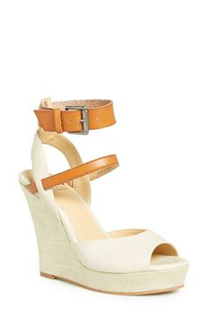 Love! Tan and white wedge sandals for summer.