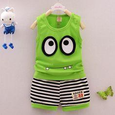 Hot Summer Kids Clothes Set Cotton Cartoon Style Baby Boy Girls Clothing Set Children Sport Suit Vest+ Stripe Shorts 2pcs
