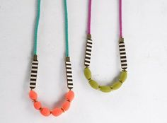 Stripe and colourful polymer clay necklace https://www.etsy.com/uk/listing/248465663/brighton-necklace-black-and-white-stripe