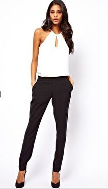 62c30ee153c5 Women s Fashion ASOS Jumpsuit With Halter in Monochrome Black and White