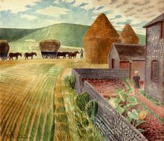 Eric Ravilious: Furlongs The Sussex Downs. Go and see this at The Ravilious Room at The Towner Art Gallery in Eastbourne! Landscape Prints, Landscape Art, Landscape Paintings, Landscapes, Sussex Downs, East Sussex, Painting & Drawing, Images, Art Gallery