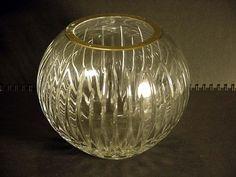 Rogaska Soho Pattern Cut Crystal Rose Bowl 6 in diam x 5.25 in Tall Gold Top Rim