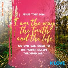 """Jesus told him, """"I am the way, the truth, and the life. No one can come to the Father except through me."""" –John 14:6 NLT #VerseOfTheDay #Scripture"""
