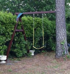 How to make good use of a tree and a small backyard.  No large standing structures, lots of yard space left, natural look, and loads of fun Add a treehouse, monkey bars, teeter totter, twisty slide and a rope ladder/ cargo netting and even I would play :)