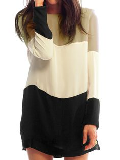 Shop Colour-block Long Sleeve Loose Dress online. SheIn offers Colour-block Long Sleeve Loose Dress & more to fit your fashionable needs.