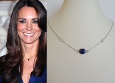 Kate Middleton Inspired Lapis Swarovski Crystal Necklace (Gold or Silver)- katemneck383/437