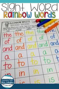 Rainbow Words: A bright new way to learn Sight Words! Teaching sight words in kindergarten or first grade? These printables are easy to use whether you like Dolch or another sight word list. Includes leveled words, flashcards, activities, and ideas to use Learning Sight Words, First Grade Sight Words, Sight Word Practice, Sight Word Activities, Dolch Sight Word List, Preschool Sight Words, Sight Word Flashcards, First Grade Activities, Teaching First Grade