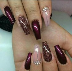 Gelnägel Muster Weinrot … - Most Trending Nail Art Designs in 2018 Fancy Nails, Cute Nails, Pretty Nails, My Nails, Hair And Nails, Classy Gel Nails, Crazy Nails, Fabulous Nails, Gorgeous Nails
