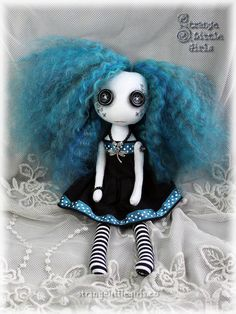 8 inch, button eyed Gothic cloth art doll with teal hair - Tilly Teal by Strange Little Girls.  #buttoneyes #Gothicdolls #clothartdolls