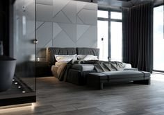 I know this is a bedroom wall, but it would look great as a poker room accent wall. Could be done with simple materials: plywood and a little paint.