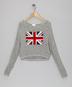 Take a look at this Gray Union Jack Cropped Sweater by Rated G on #zulily today!