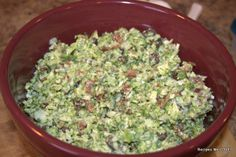 Aunt Corinne's Broccoli Salad ---I LOVE this dish and every time I fix I wonder why it has been so long since I have made it, what's not to love it has bacon in it.