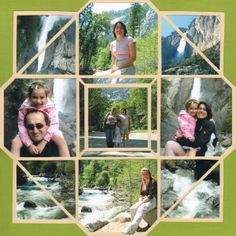 The beautiful Yosemite Park in California. Photo Collage using the Stained Glass Stencil