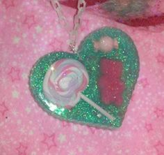 Gorgeous Pink and aqua Blue Candy Heart by GlamCandyBoutique, $22.00