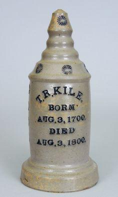 Charles Frederick Decker (1832-1906) - Salesman's Sample Grave Marker. Salt Glazed Stoneware with Cobalt Lettering & Decorations. Washington County, Tennessee. Circa 1872-1906.