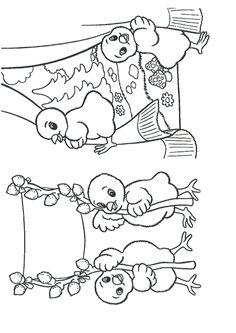 Des canetons qui s'amusent pendant l'été, dessin à colorier