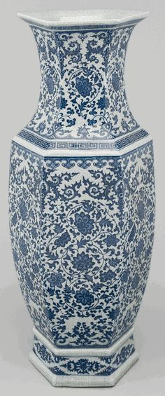 Asian Decor: Blue and White Porcelain Vase from Beijing, China