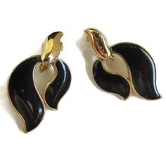 Trifari Black Earrings Vintage Trifari Enamel Earrings