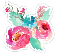 Watercolor Peonies Pink Turquoise Summer Bouquet Throw Pillow - Enjoy the summer and get outside. Turquoise Throw Pillows, Pink Cushions, Turquoise Flowers, Pink Turquoise, Printable Stickers, Cute Stickers, Watercolor Design, Watercolor Flowers, Tumblr Stickers