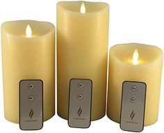 Set of 3 Flameless Pillar Candles by Luminara 4x 5 4x7 4x9 LED Candles with Timer Remote Controls and Batteries * Visit the image link more details.