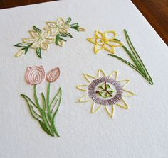 Easter Flowers modern hand embroidery pattern: lily tulip