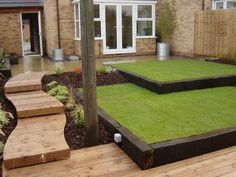 reclaimed railway sleepers; 2 level lawn