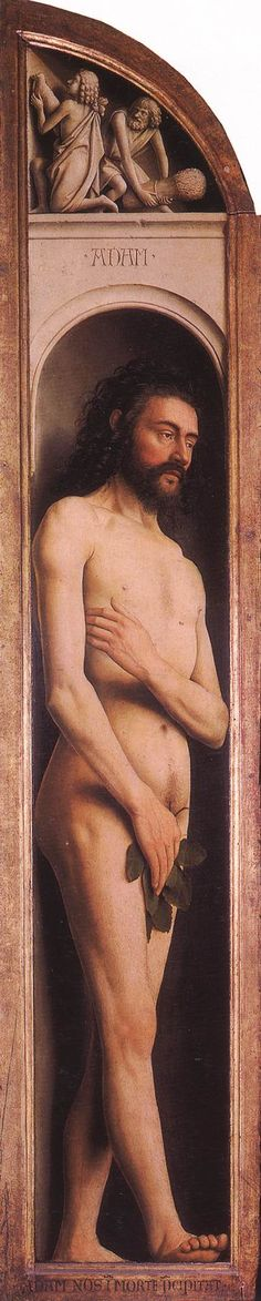 Jan Van Eych / The Ghent Altarpiece: Adam; Cain and Abel / 1425-29 / Oil on wood, 212,9 x 37,1 cm (with the top grisaille) / Cathedral of St Bavo, Ghent