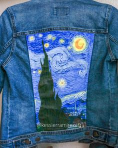 Painting The Starry Night by Vincent Van Gogh by Kessler Ramirez Painting The Starry Night by Vincent Van Gogh by Kessler Ramirez Kessler Ramirez kesslerramirezart Art by Kessler Painted denim jacket nbsp hellip gogh Painting videos Painted Denim Jacket, Painted Jeans, Painted Clothes, Hand Painted, Denim Paint, Fabric Painting, Fabric Art, Diy Painting, Painting Videos