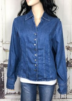 90685e07a4 Coldwater Creek Denim Top Womens M Snap Button Down Fitted Cotton Blend Denim  Button Down