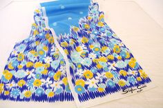 Vintage Stefano Guidi Long Scarf Blue with Flowers and Polka Dots 51x10.5 inches by okanaganvintage on Etsy