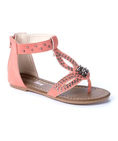 b668324c6eb62 Look at this Blue Berry Coral Rhinestone Lily Sandal on  zulily today! Chaussures  Fille