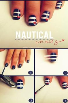 Nautical Mani: Use straight strips that come in french manicure kits to make stripes. Might be one of the easiest nail art manicures ever!