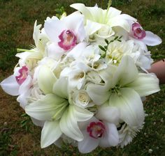 Wedding Bouquet Gallery: Wedding Bridal Bouquets With White Orchids And Roses Lily Wedding, White Wedding Flowers, Bridal Flowers, Flower Bouquet Wedding, Bridesmaid Bouquet, Bridal Bouquets, Dream Wedding, Wedding Things, Wedding Stuff