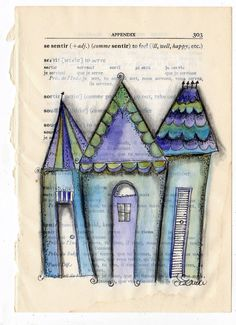 ORIGINAL ART Houses Filled With Joy Blue by www.thecharmingplace.com $30.00